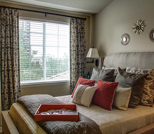 Carriage Place Select master bedrooms with ceiling fans and gas fireplace Denver CO - Englewood
