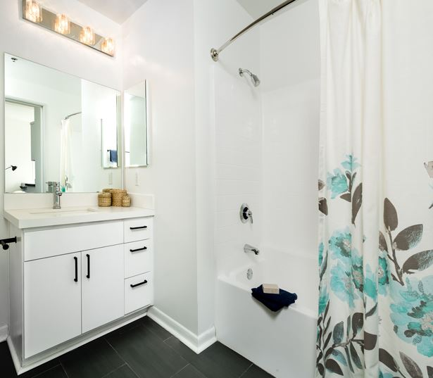 Fashion District apartments in Los Angeles - Lofts at Security Building upgraded bathroom