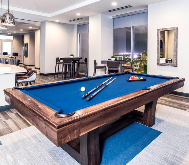 Central Business District apartments for rent in Denver - SkyHouse Denver billiards table