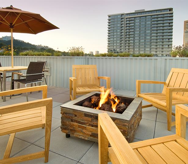 The Matisse apartments for rent in South Waterfront - outdoor fireplace