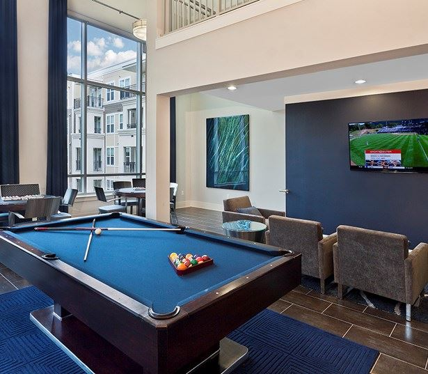 Marshall Park apartments in Central Raleigh - Billiards lounge with poker and game tables