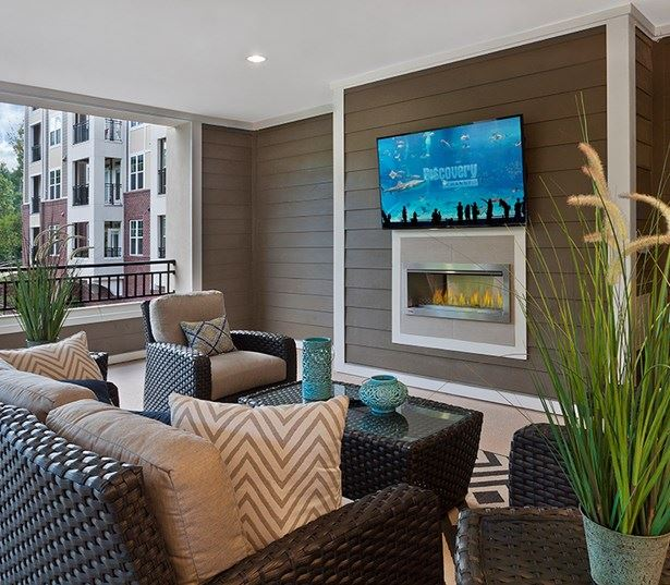 apts for rent in raleigh nc - Marshall Park Covered fireside lounge with outdoor living space