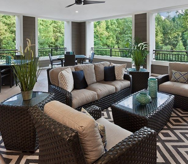 apartments for rent in raleigh nc - Marshall Park Covered patio overlooking the Greenway