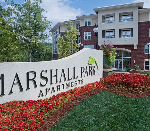 townhomes in raleigh - Marshall Park Apartments Entry Monument