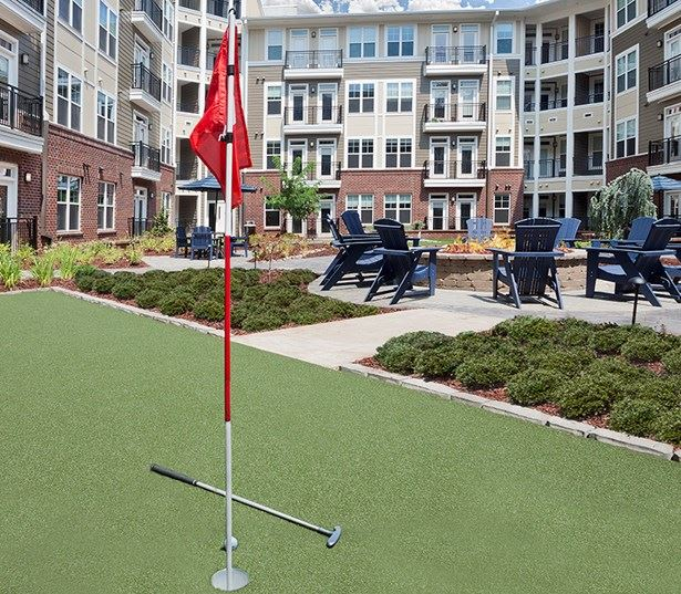 Raleigh, NC Apartments on the Greenway - Marshall Park Courtyard with outdoor putting green