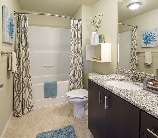 Victory Flats apartments for rent in the Beaverton School District - Modern bathroom