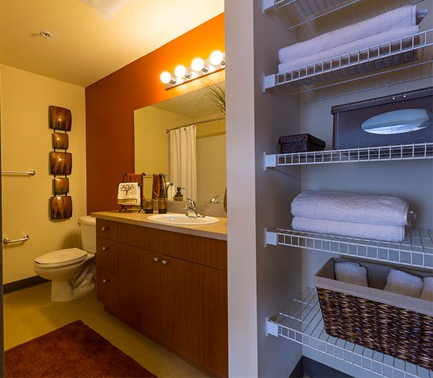 Seattle Center apartments near Zulily - Neptune Bathroom with built in storage and shelving