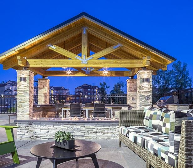Victory Flats apartments in Cedar Hills - Resort style pool with gazebo lounge seating