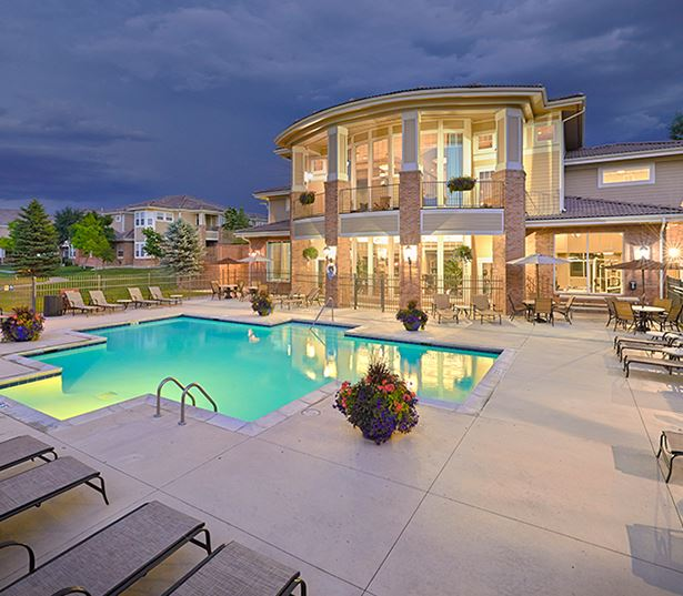 parker co apartments - The Meadows At Meridian Expansive swimming pool with lounge and sundeck