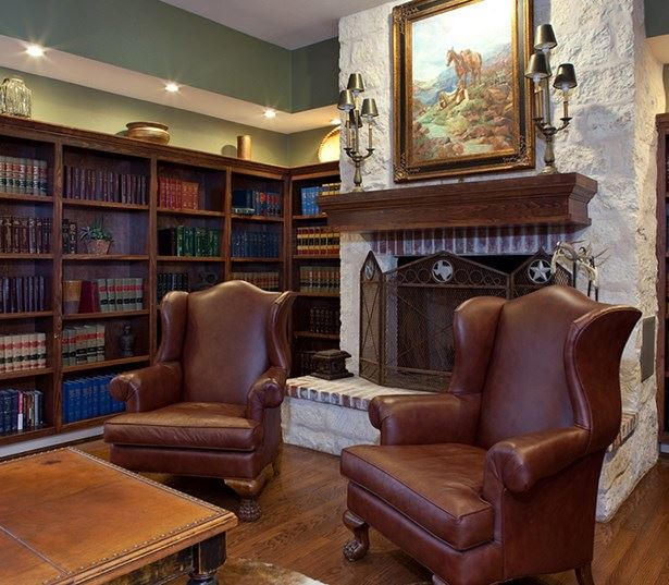 Apartments in Round Rock School District - The Ranch Apartments Resident library and fireplace