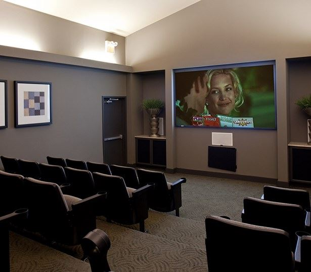 Ridgeview apartments for rent in Southwest Austin - movie theater with surround sound system