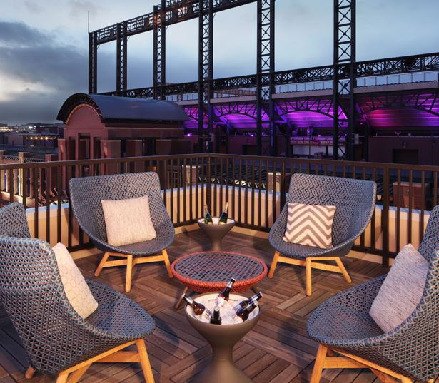 The Battery on Blake Street rooftop deck - Coors Field Apartments and Penthouses for Rent