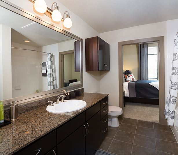 2125 Yale Bathroom with granite countertops garden styles tub Houston TX - The Heights