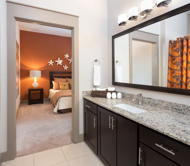 The Icon at Ross features large bathrooms - Uptown Dallas Apartments