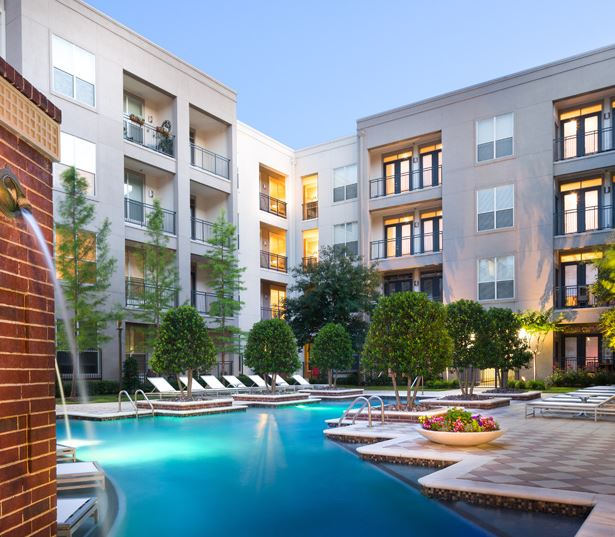 The Icon at Ross Apartments - tanning and lounge areas - Baylor Medical Center Apartments