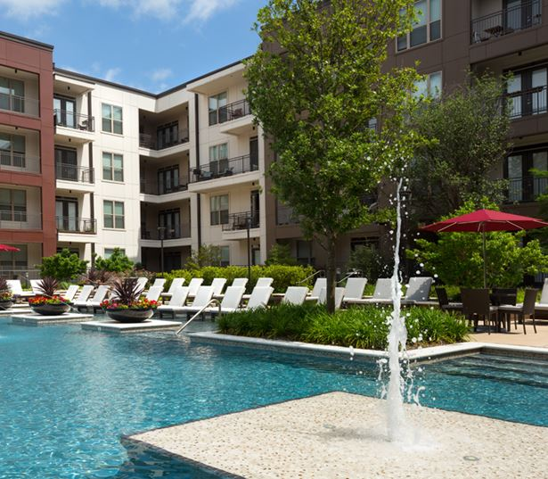 Strata Apartments - Pool area and tanning island - Knox-Henderson Apartments