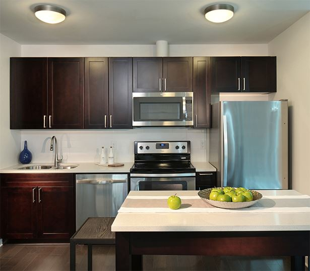 Uptown apartments for rent in Denver, Colorado - SkyHouse Denver 22F3 floor plan kitchen