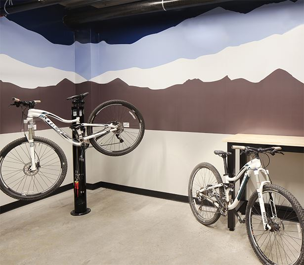 Apartments in the Central Business District - SkyHouse Denver Bike ski maintenance shop on-site