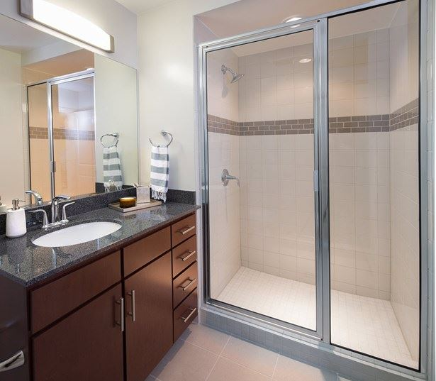 Lady Bird Lake apartments for rent - SkyHouse Austin Spa-styled baths with ceramic tile floors