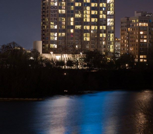 SkyHouse Austin apartments for rent downtown - Building view from the Congress Street bridge