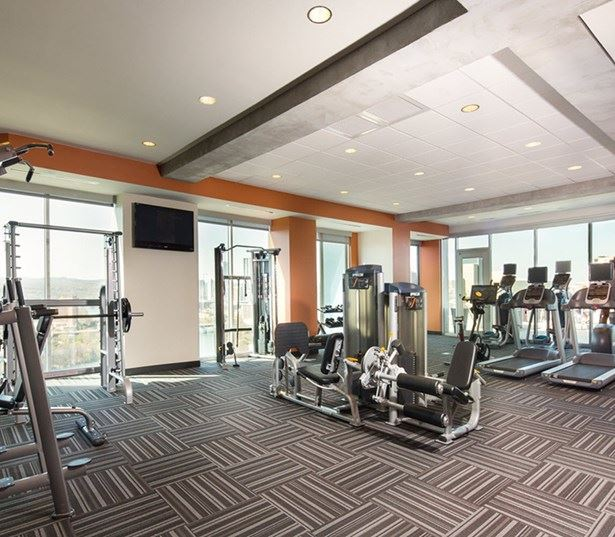 SkyHouse Austin apartments for rent downtown - Fitness Center with TRX equipment