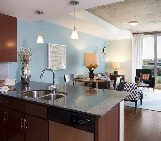 SkyHouse Austin apartments on Rainey Street - open floor plans and floor to ceiling windows