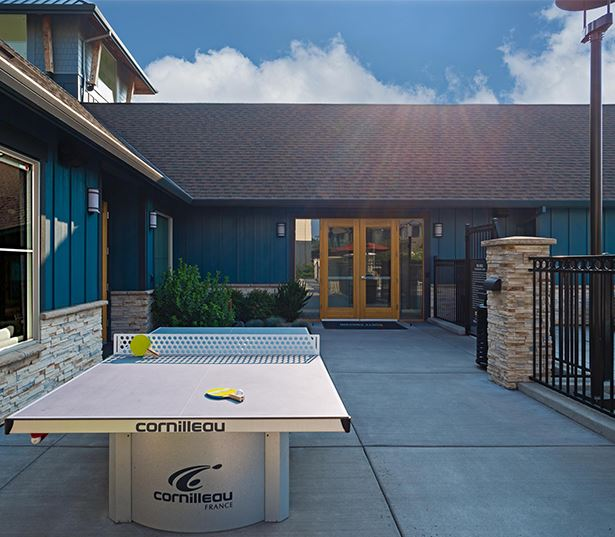 Beaverton apartments near Max Blue Line and Nike - Victory Flats outdoor ping pong table