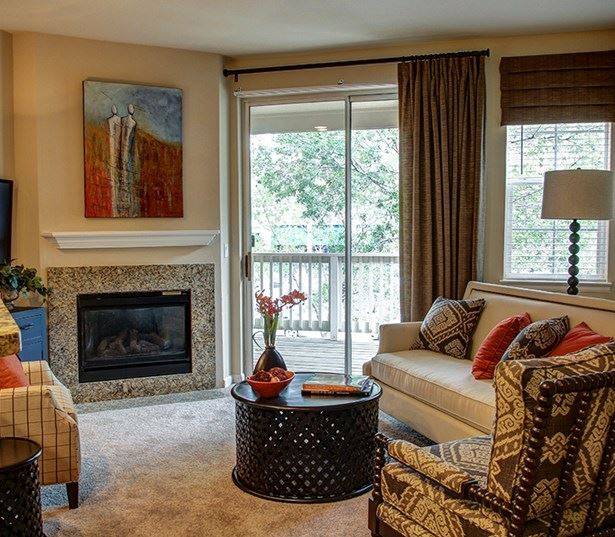 Carriage Place Modern living rooms with fireplace and open floor plans Denver CO - Greenwood Village