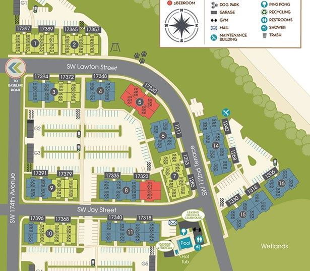 Beaverton apartments for rent near Walker Road - Victory Flats Community site map