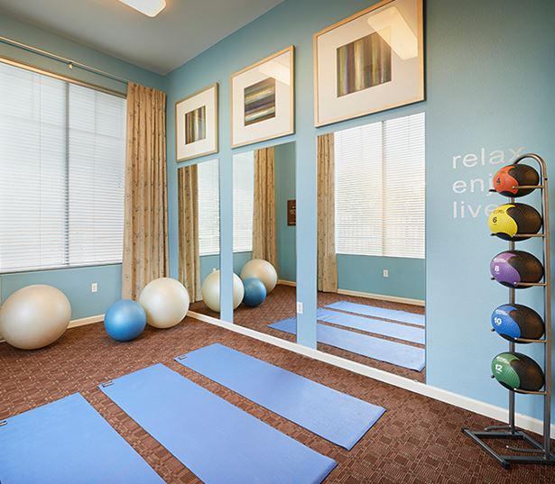 Apartments & Townhomes for rent in Parker near Ridgegate - The Meadows At Meridian Yoga room