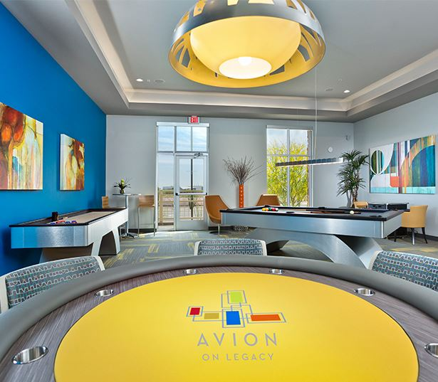 Luxury apartments north Scottsdale - Avion on Legacy Game room with billiards and shuffle board
