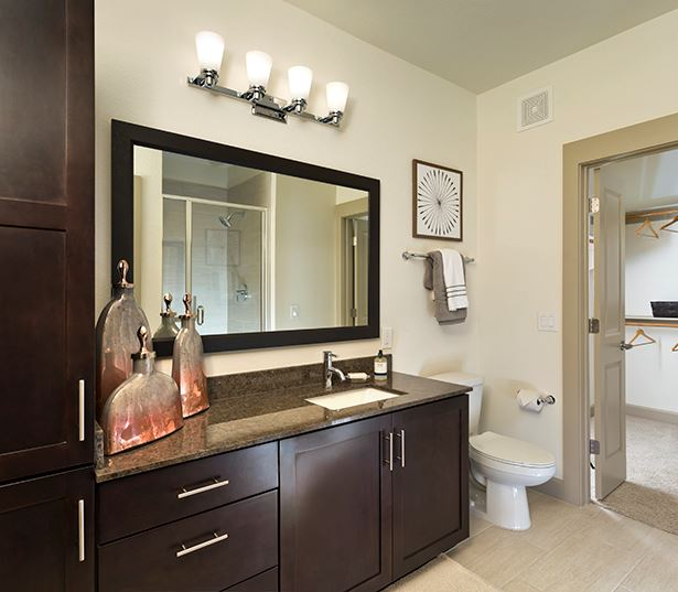 Phx apartments - Citrine Walk in showers with glass doors and ceramic tile