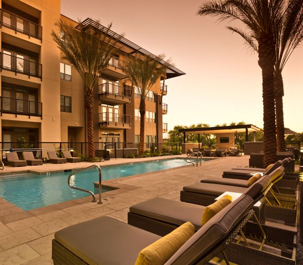 Phx apartments - Citrine Lap pool with outdoor lounge and fire pit