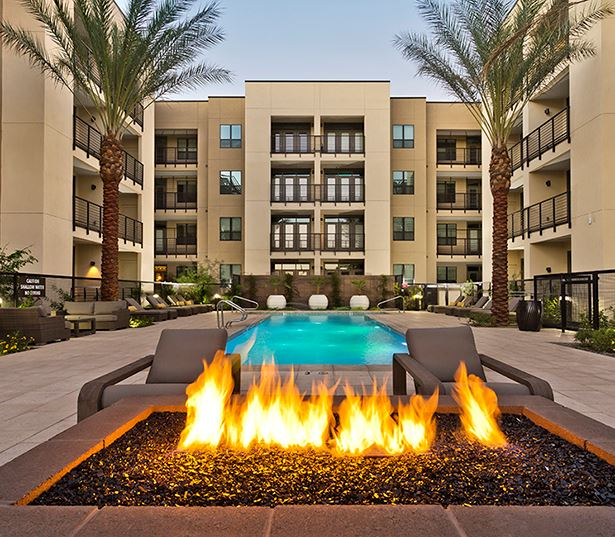 Citrine apartments for rent in Camelback, AZ features an outdoor lounge and fire pit