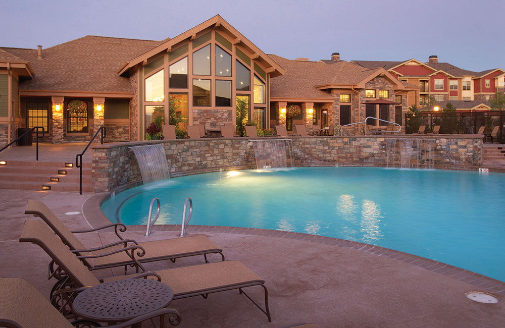 The Sanctuary At Tallyn's Reach Outdoor Resort Style Pool Aurora CO - Southeast Aurora