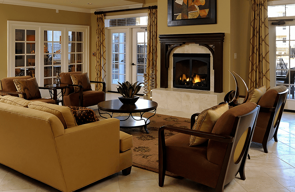 Chancery Village Modern clubhouse with fireplace Cary NC - Research Triangle Park