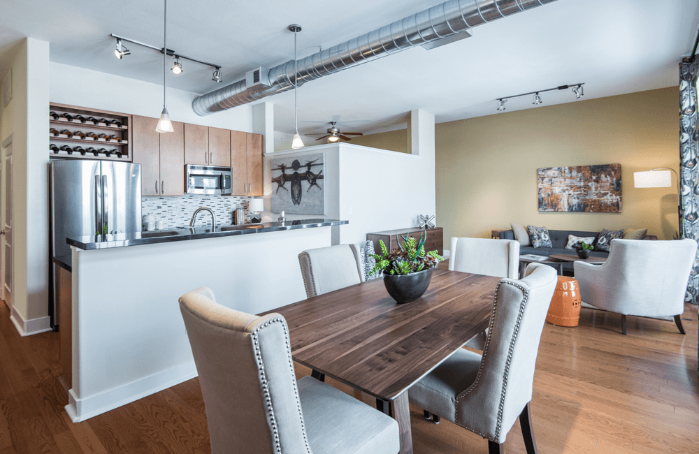 The Boulevard Modern kitchen with stainless steel appliances Denver CO - Speer Boulevard