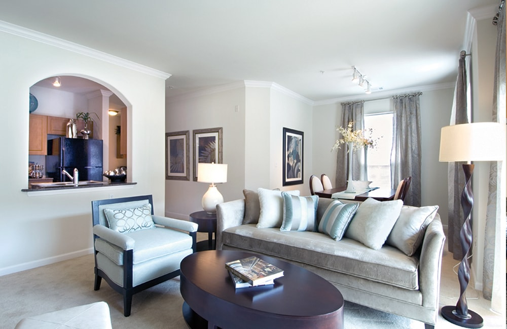 Highlands at Dearborn Living Room Model Interior Peabody MA - Route 1