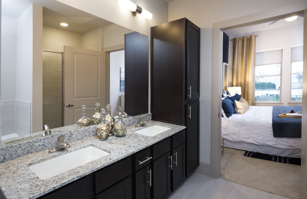 District At Memorial Dual vanity master bathroom with ample storage Houston TX - CityCentre Houston