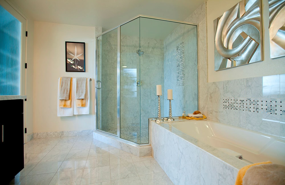 The Brockman Lofts Large bathroom with marble throughout Los Angeles CA - Bottega Louie