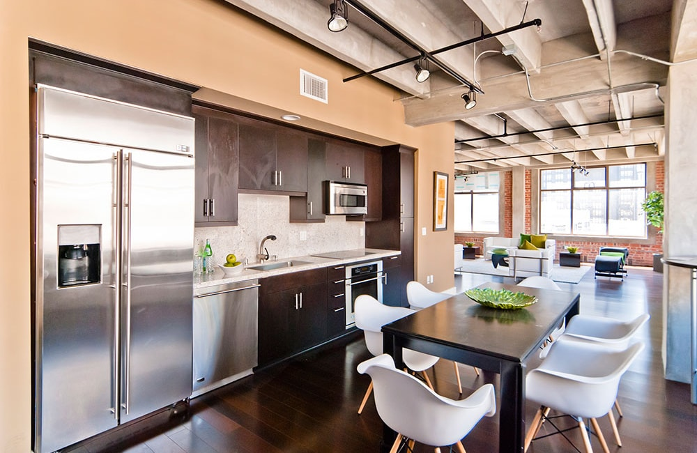 The Brockman Lofts Modern upgraded kitchen with stainless steel appliances Los Angeles CA - DTLA