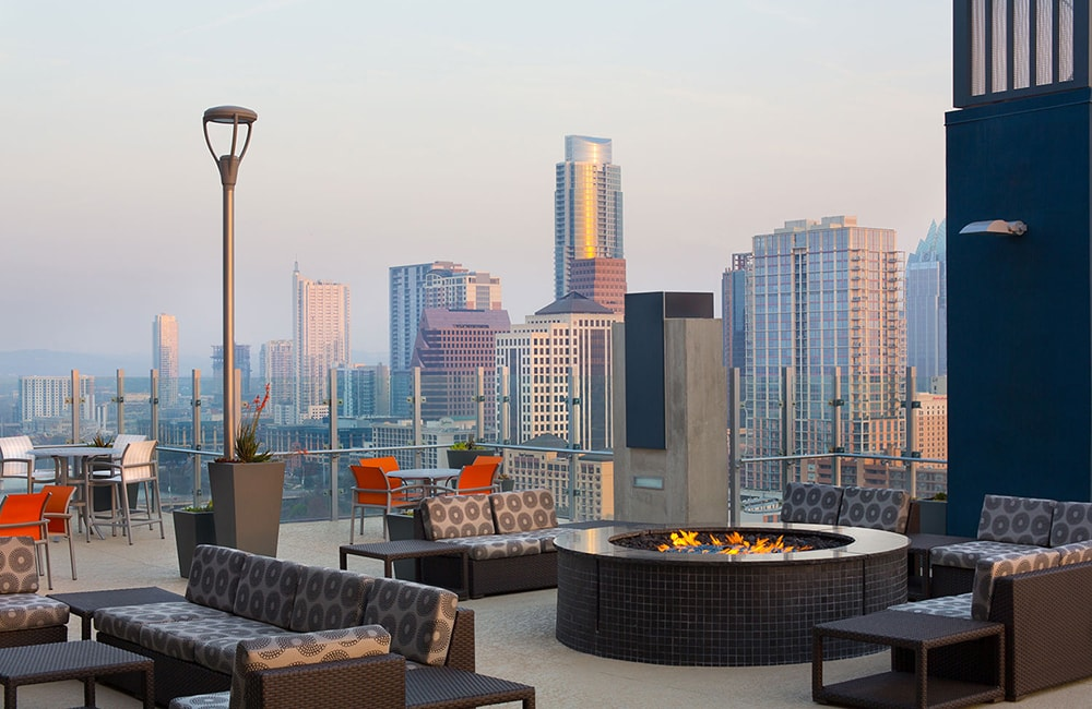 SkyHouse Austin Rooftop Lounge and Fire Pit Austin TX - Downtown Austin