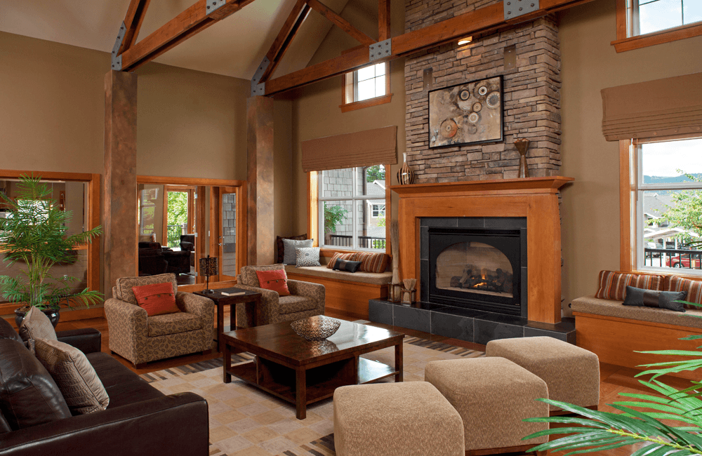 The Timbers at Issaquah Ridge - Beautiful Resident clubhouse with fireplace Issaquah WA - Issaquah Highlands