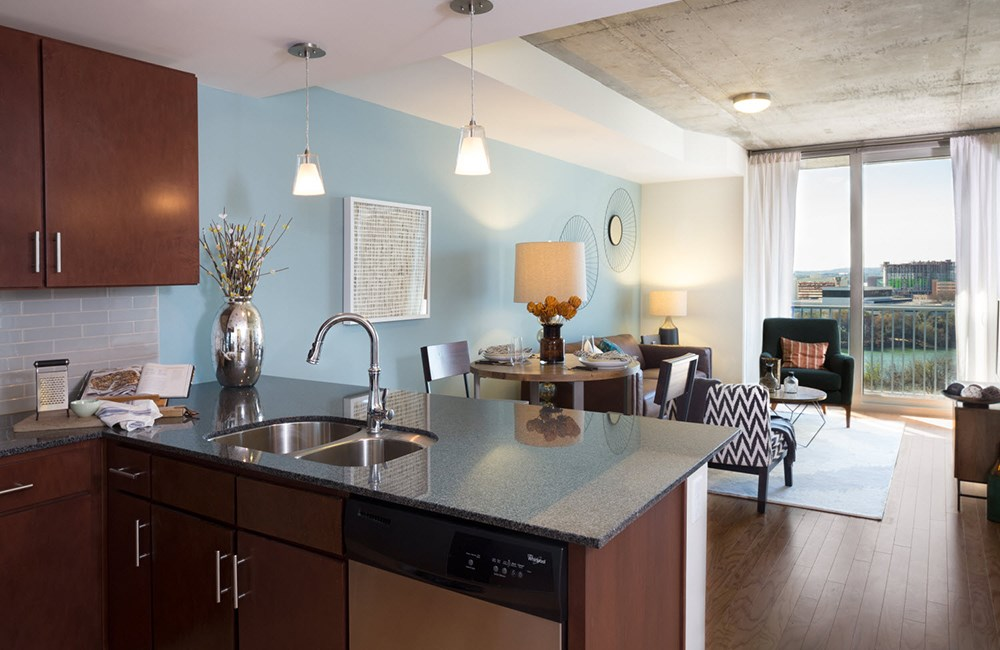 Kitchen and Living Room at SkyHouse Austin