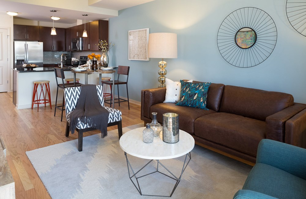 Living Room at the SkyHouse Austin Apartments