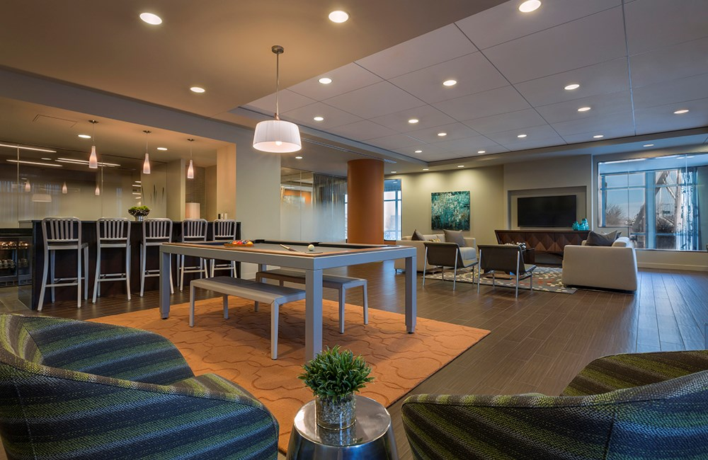 Resident Lounge at The Victor Apartments – Boston, MA