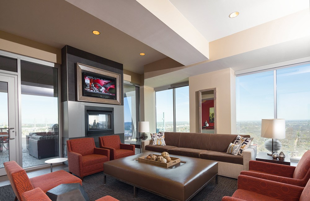 Indoor Resident Lounge at SkyHouse Austin, TX